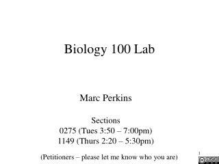 Biology 100 Lab