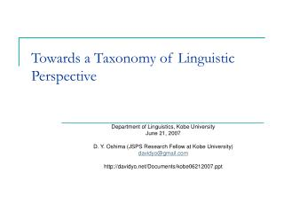 towards a taxonomy of linguistic perspective