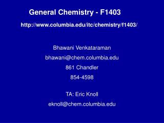 General Chemistry - F1403