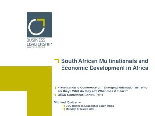 South African Multinationals and Economic Development in Africa
