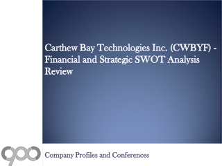 Carthew Bay Technologies Inc. (CWBYF) - Financial and Strate