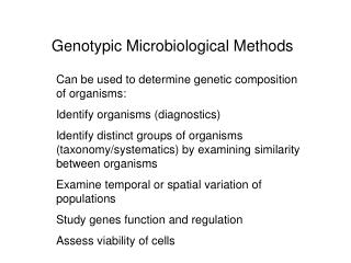 Genotypic Microbiological Methods