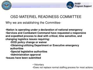 OSD MATERIEL READINESS COMMITTEE