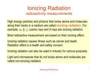 Ionizing Radiation radioactivity measurements