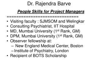 Dr. Rajendra Barve