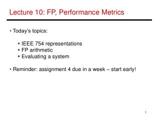 Lecture 10: FP, Performance Metrics