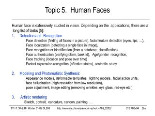 Topic 5.  Human Faces
