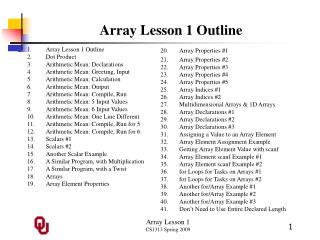 Array Lesson 1 Outline