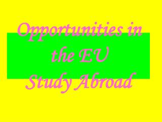 Opportunities in the EU Study Abroad