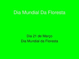 Dia Mundial Da Floresta