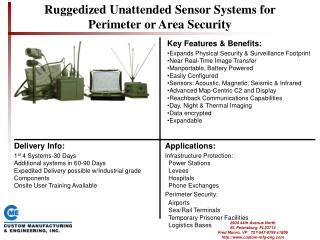 Ruggedized Unattended Sensor Systems for Perimeter or Area Security