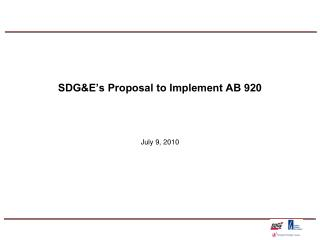 sdge s proposal to implement ab 920