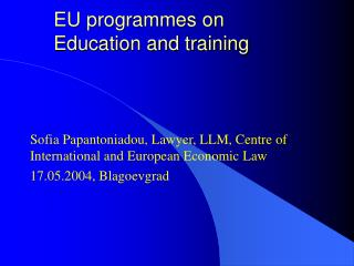 EU programmes on  Education and training