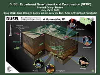 DUSEL Experiment Development and Coordination DEDC Internal Design Review July 16-18, 2008 Steve Elliott, Derek Elsworth