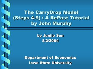 The CarryDrop Model  Steps 4-9 : A RePast Tutorial by John Murphy