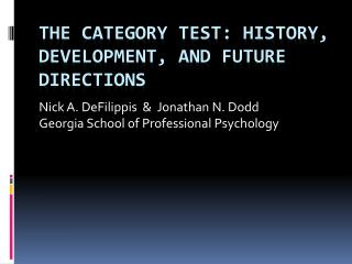 The Category Test: History, development, and future directions