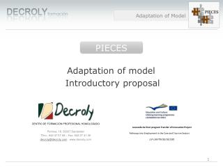 Adaptation of model  Introductory proposal