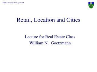 Retail, Location and Cities