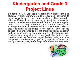 Kindergarten and Grade 3 Project Linus