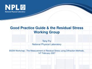 Good Practice Guide  the Residual Stress Working Group