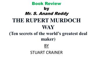 Book Review by Mr. S. Anand Reddy