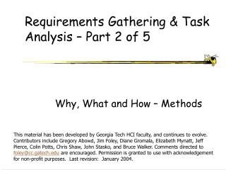 Requirements Gathering  Task Analysis   Part 2 of 5
