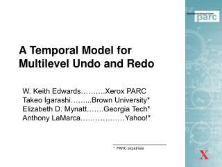 A Temporal Model for Multilevel Undo and Redo
