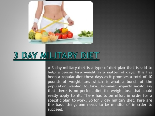 Three Day Military Diet