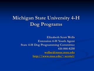 Michigan State University 4-H Dog Programs
