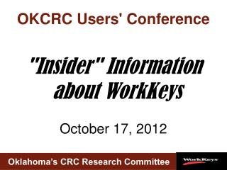 OKCRC Users Conference