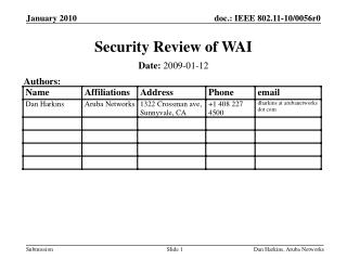 Security Review of WAI