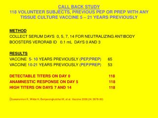 CALL BACK STUDY 118 VOLUNTEER SUBJECTS, PREVIOUS PEP OR PREP WITH ANY TISSUE CULTURE VACCINE 5   21 YEARS PREVIOUSLY