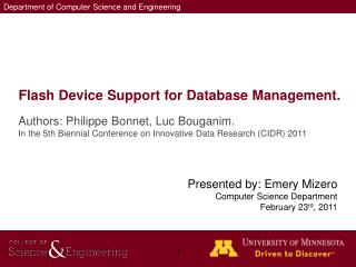 Flash Device Support for Database Management.