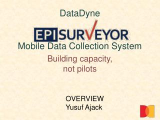 DataDyne   Mobile Data Collection System  Building capacity, not pilots
