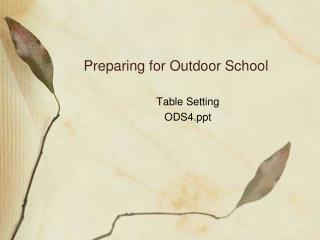 Preparing for Outdoor School