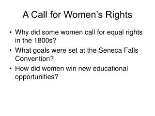 A Call for Women s Rights