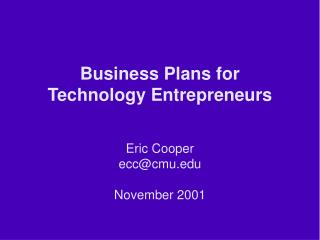 Business Plans for Technology Entrepreneurs