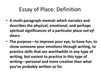Essay of Place: Definition