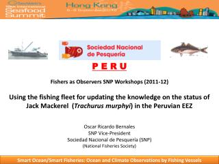 P E R U  Fishers as Observers SNP Workshops 2011-12  Using the fishing fleet for updating the knowledge on the status of