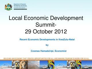 Local Economic Development Summit-  29 October 2012