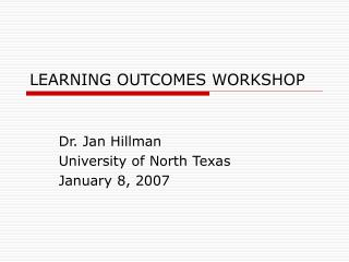 LEARNING OUTCOMES WORKSHOP