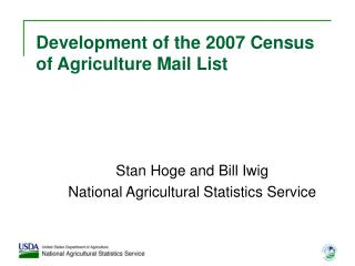 Development of the 2007 Census of Agriculture Mail List