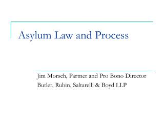 Asylum Law and Process