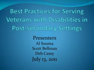 Best Practices for Serving Veterans with Disabilities in Post-secondary Settings