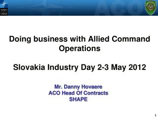 Doing business with Allied Command Operations  Slovakia Industry Day 2-3 May 2012