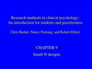 Research methods in clinical psychology: An introduction for students and practitioners  Chris Barker, Nancy Pistrang, a