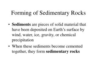 Forming of Sedimentary Rocks
