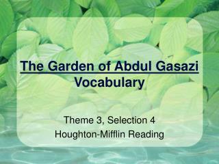 The Garden of Abdul Gasazi Vocabulary