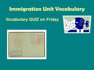 Immigration Unit Vocabulary