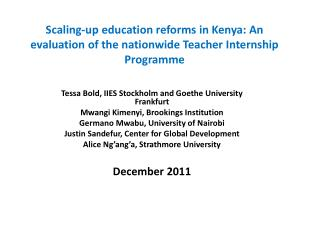 Scaling-up education reforms in Kenya: An evaluation of the nationwide Teacher Internship Programme